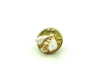 Vintage Glitter Gold Bumblebee Lapel Pin