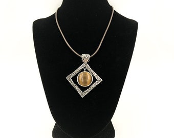 Discontinued Brown Tiger Eye Filigree Pendent in Silver with Brown Leather Necklace by Lia Sophia