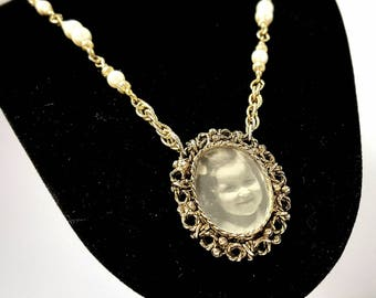 Vintage necklace and picture frame pendant signed AJC