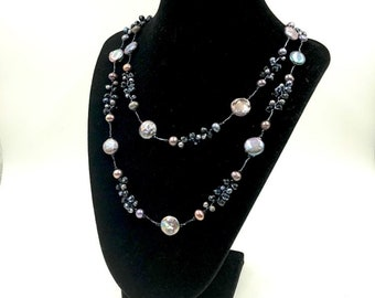 Mother of Pearl Long Beaded Wrap Necklace