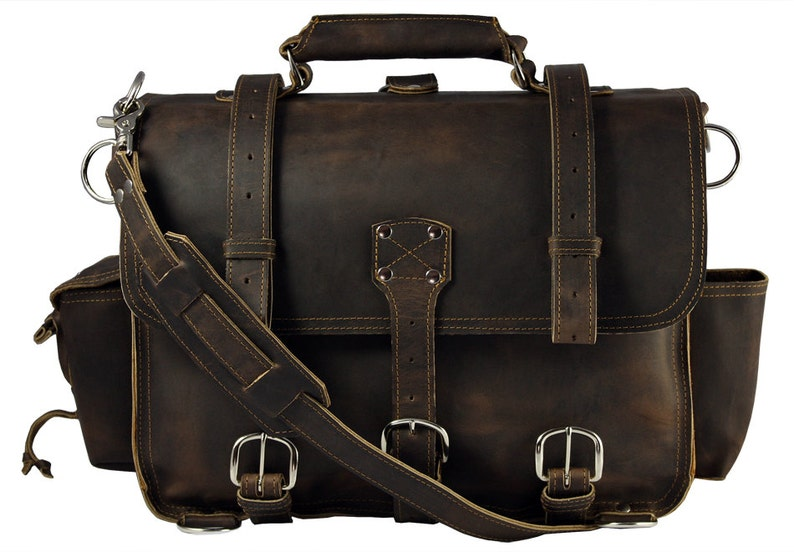 140d838591 Made in USA Leather Briefcase Messenger Bag X-LARGE Rich