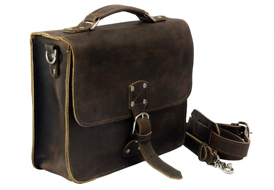 Leather Indiana Jones Bag Rich Chocolate Brown Distressed