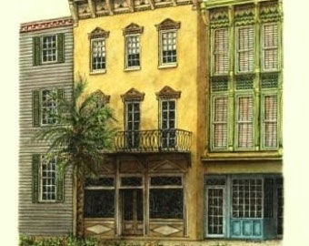 "Pastel Pen and Ink Florida Streetscape, Original Architectural Art Home Decor 10"" x 15"" , cityscape, Southern wall art, Florida Scene"