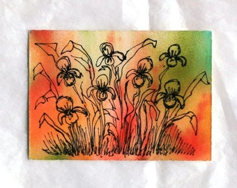 Iris watercolor, abstract aceo and gift tag with ribbon, original art flower pen and ink, floral art, red orange green botanical painting
