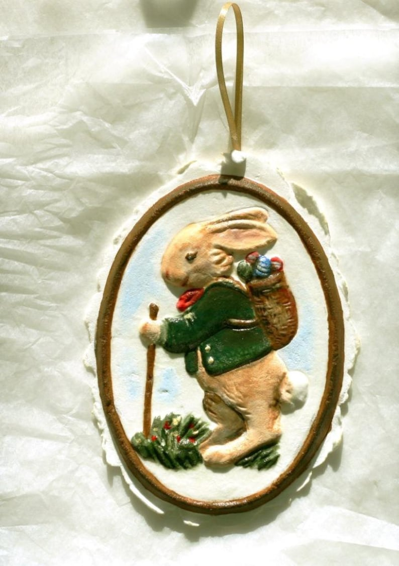 cast paper cookie mold gift topper Molded paper Hiking Bunny Rabbit Easter Ornament 4.5 x 6 hand painted brown green Christmas ornament