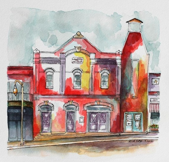 Abstract Western Watercolor Painting Architectural Art Pen And Ink 8 X8 Streetscape Southwestern Red Art Street Scene Sfa Wall Art