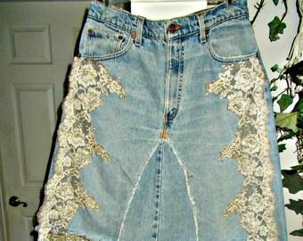 Vintage lace jean skirt  Renaissance Denim Couture antique French lace   mermaid belle bohémienne upcycled vintage Levi's Made to Order
