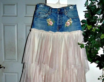 Petite Ballerine bohemian jean skirt Seven for All Mankind blush pink tulle frou frou Made to Order fairy goddess Renaissance Denim Couture