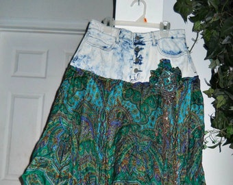 Emerald green silk forest faerie  Elvyne nymph bohemian jean skirt French medieval Celtic Renaissance Denim Couture Made to Order