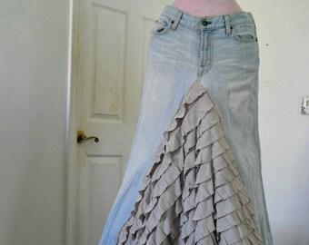 Ruffled jean skirt beige cream bohemian mermaid beach wedding  Bohémienne Seven for All Mankind Renaissance Denim Couture Made to Order