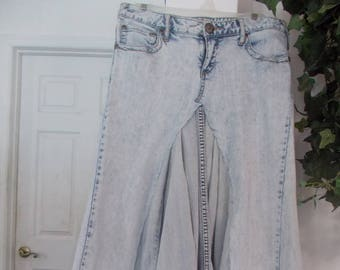 Free People jean skirt Renaissance Denim Couture upcycled altered authentic fairy goddess mermaid belle bohémienne ultra light wash stretch