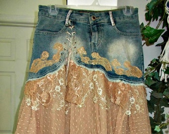 Ruffled lace jean skirt beige rose tulle dotted Swiss lace champagne rhinestones tulle ruffles upcycled bohemian Renaissance Denim Couture