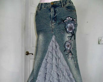 Ruffled jean skirt lilac purple roses lavender beaded sequins embellished bohemian mermaid goddess beach wedding Renaissance Denim Couture