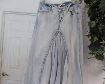 Bohemian ballroom jean skirt Renaissance Denim Couture upcycled altered fairy goddess mermaid belle bohémienne  Made to Order