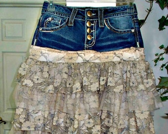 Ruffled Lace jean skirt upcycled denim beige tulle rose metallic lace French lace vintage fairy goddess bohemian Renaissance Denim Couture