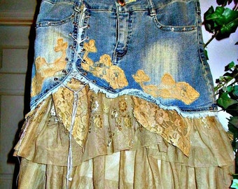 Beige tulle jean skirt ruffled rose lace champagne lace rhinestones French lace tulle ruffles upcycled bohemian Renaissance Denim Couture