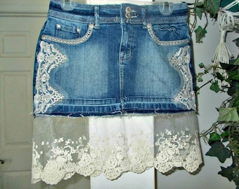 7581e0d827 Embroidered lace jean skirt upcycled denim ivory rhinestones embellished  sequins vintage bohemian Renaissance Denim Couture Made to Order