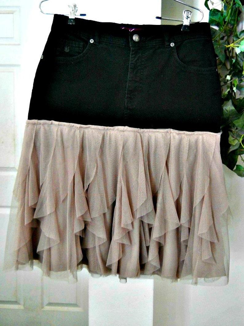 e48e0e191d Petite Gamine black jean skirt mauve tulle frou frou French | Etsy