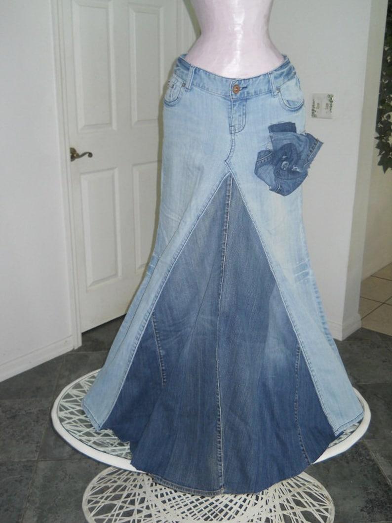 Belle Boh\u00e9mienne bohemian ballroom jean skirt  Renaissance Denim Couture fairy goddess mermaid altered couture