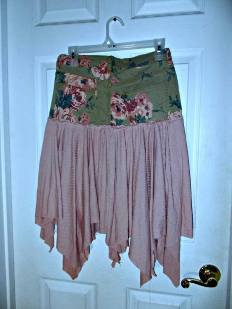 La Vie en Rose jean skirt green denim mauve pink roses stretch fairy festival boho cowgirl bohemian Renaissance Denim Couture