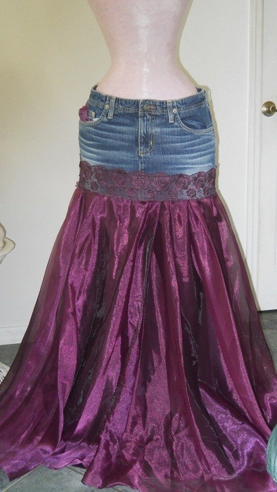 33f94e13a0f4fc Items similar to Made to Order Chloé jean skirt purple satin lace bohemian  goddess Renaissance Denim Couture on Etsy