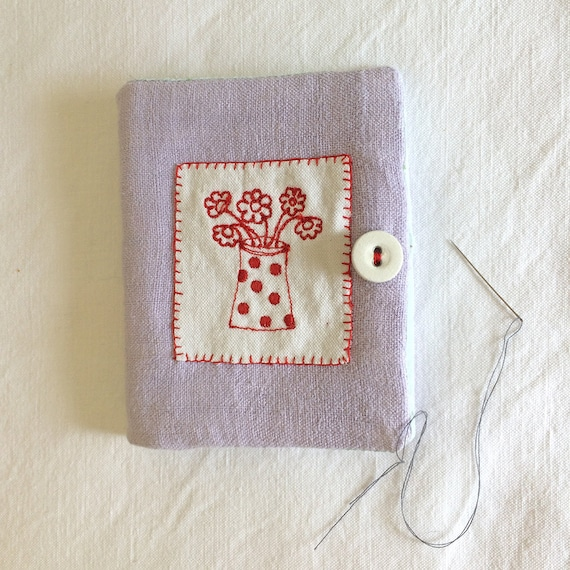 Needlecase in vintage linen with original embroidery
