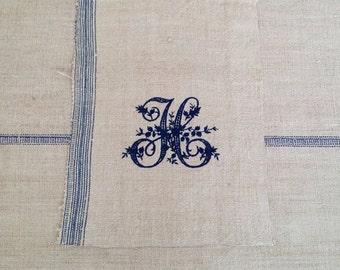 Vintage Monogram Letter H Embroidered on medium weight Ecru Vintage Linen