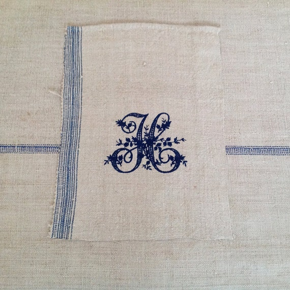 Vintage Monogram Letter H Embroidered on medium weight pale cream Vintage Linen
