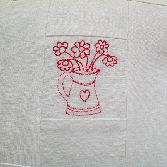 Plain and simple cushion with red flower heart jug in white vintage linen - available to order
