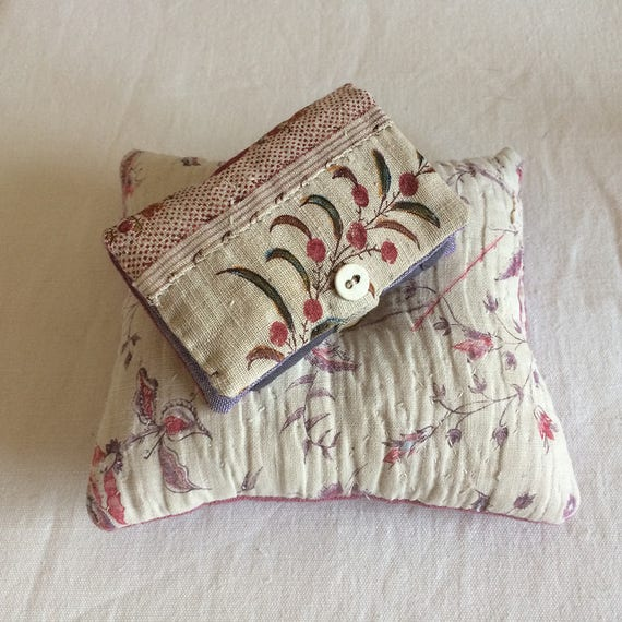 Vintage French textiles and vintage linen dyed a luscious bramble pink/purple - pin cushion and needlecase
