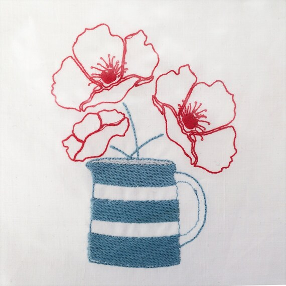 Original embroidery for sewing projects, vintage linen, poppies, stripey jug.