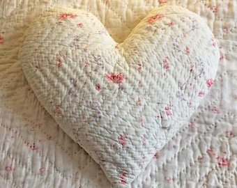 Heart cushion from tattered vintage quilt with 'repair scraps', minimal red floral with lilac, something wab-sabi