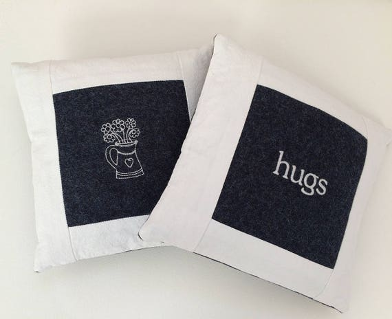 Little Hugs Pillow, wool felt, navy, white cotton