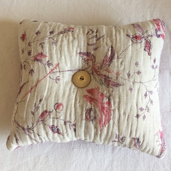 Vintage French textiles and vintage linen dyed a luscious bramble pink/purple - pin cushion.