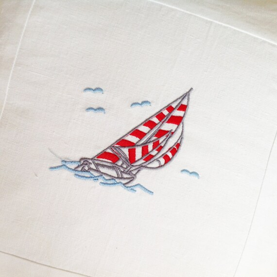 To order - Snowy white vintage linen sailing boat seagulls embroidered seaside Scandinavian fresh style