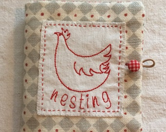 Needlecase in country style linen with Liberty's lining, embroidered with roosting nesting hen, cross stitch heart pocket