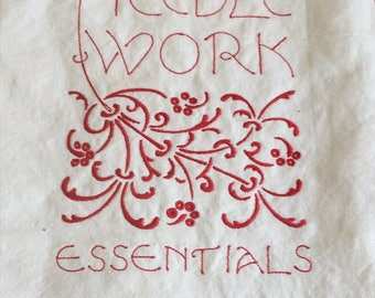 Tote bag for 'Needlework Essentials'-  red embroidery on white linen, art nouveau typography & scrolls - haberdashery