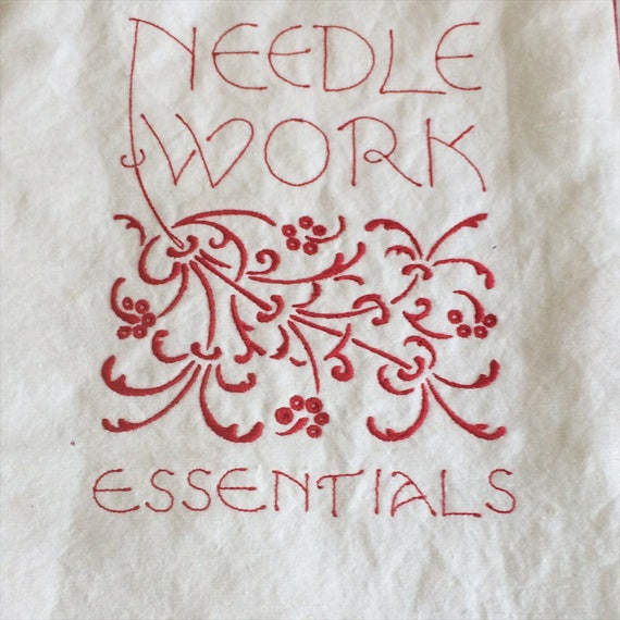 Tote bag for 'Needlework Essentials'-  red embroidery on white linen, art nouveau typography & scrolls, arts and crafts - haberdashery