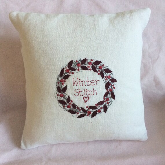 Christmas Wreath Cushion; rich, dark, glittering embroidered berries & leaves on white vintage linen