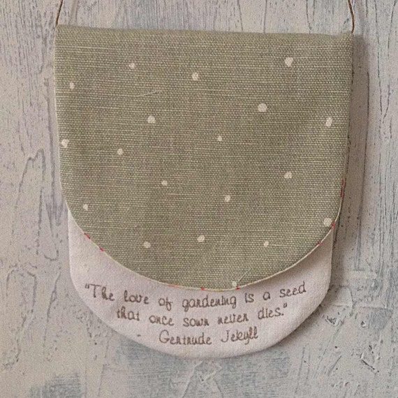Hanging Pouch with vintage fabric, embroidery and Vanessa Arbuthnott fabric