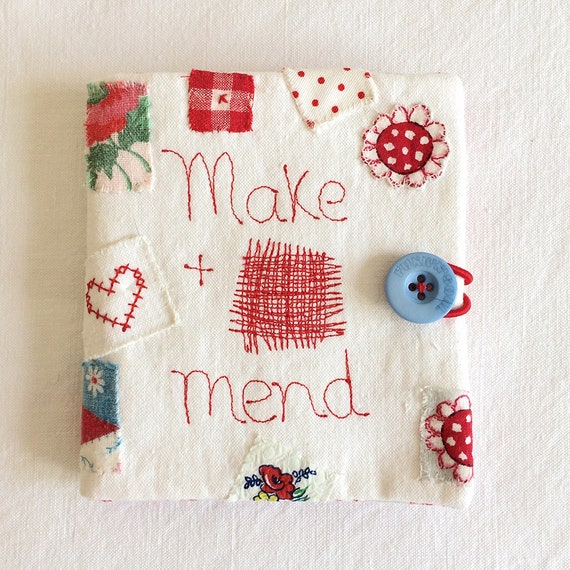Make and Mend embroidered needlecase in brocante sourced vintage linen with mend or darn