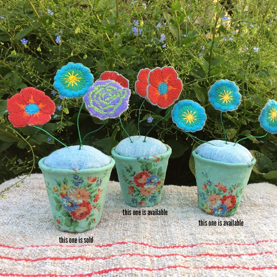Embroidered flower pot pin cushion