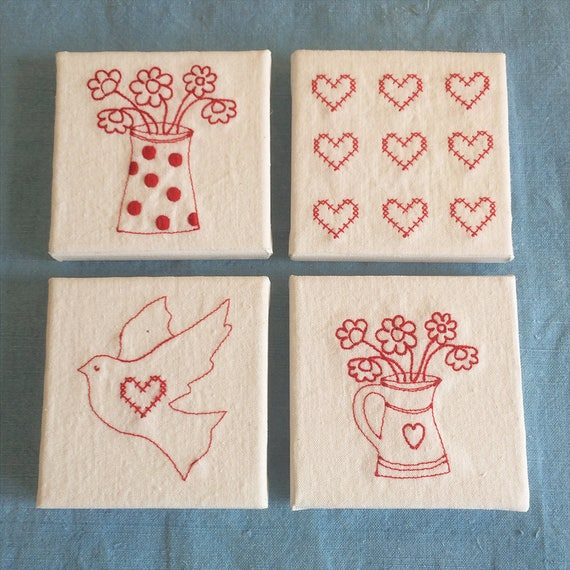 To order - Mini Canvas with red-work Swedish Style Embroidery: hearts, dots, flowers, dove or hygge lagom, running stitch or cross stitch.