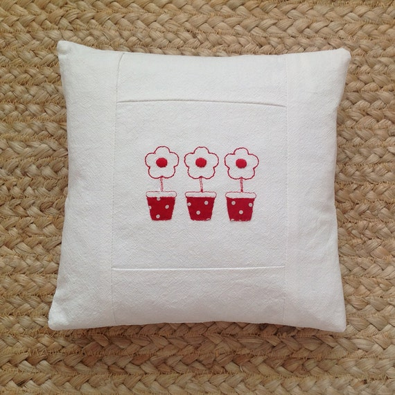 Little pillow in vintage white linen with redwork lollypop flowers and applique polka dot pots, nordic, scandi style -  avaiilable to order