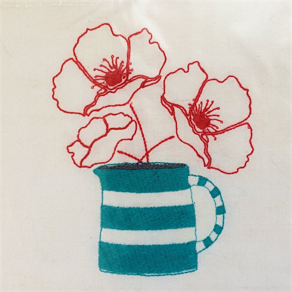 Original embroidery, sewing projects, vintage linen, poppies, stripey jug.