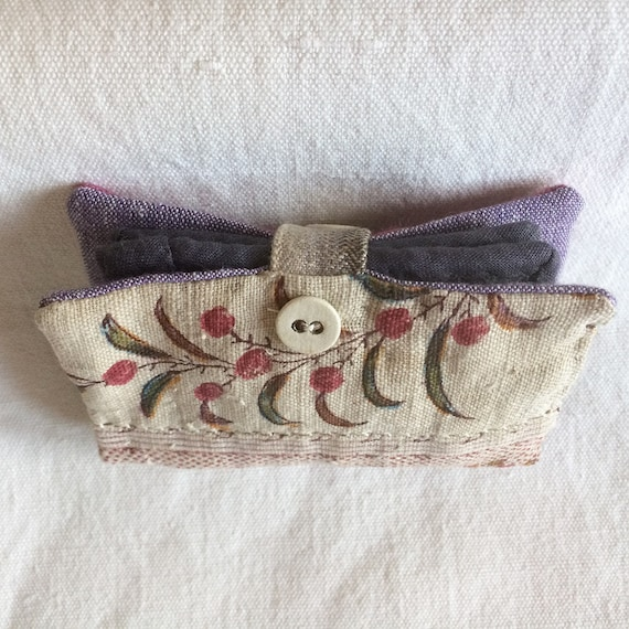 Vintage French textile needle case in bramble colours, very wabi-sabi, felted wool pages, linen lined, secret pocket, vintage haberdashery.