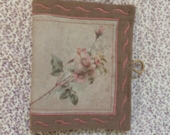 Embroidered Needlebook victorian vintage rose print fabric
