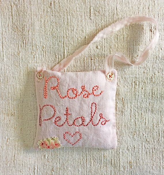 Summer's Rose Petals in vintage linen and pretty floral with embroidered words; heart and square