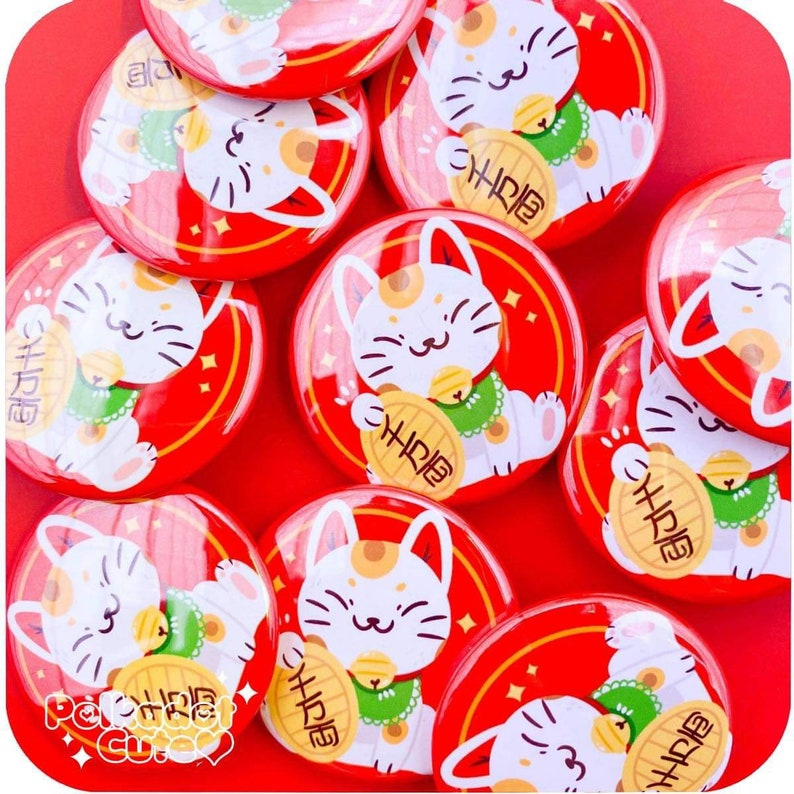 Maneki Neko 1.5\u201d Pin Back Button