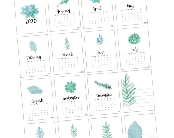 Printable 3x4 Month Cards, Monthly Calendar, Planner Download, Printable Calendar, Scrapbooking, Project Life, Bujo, Planner, Journal Cards